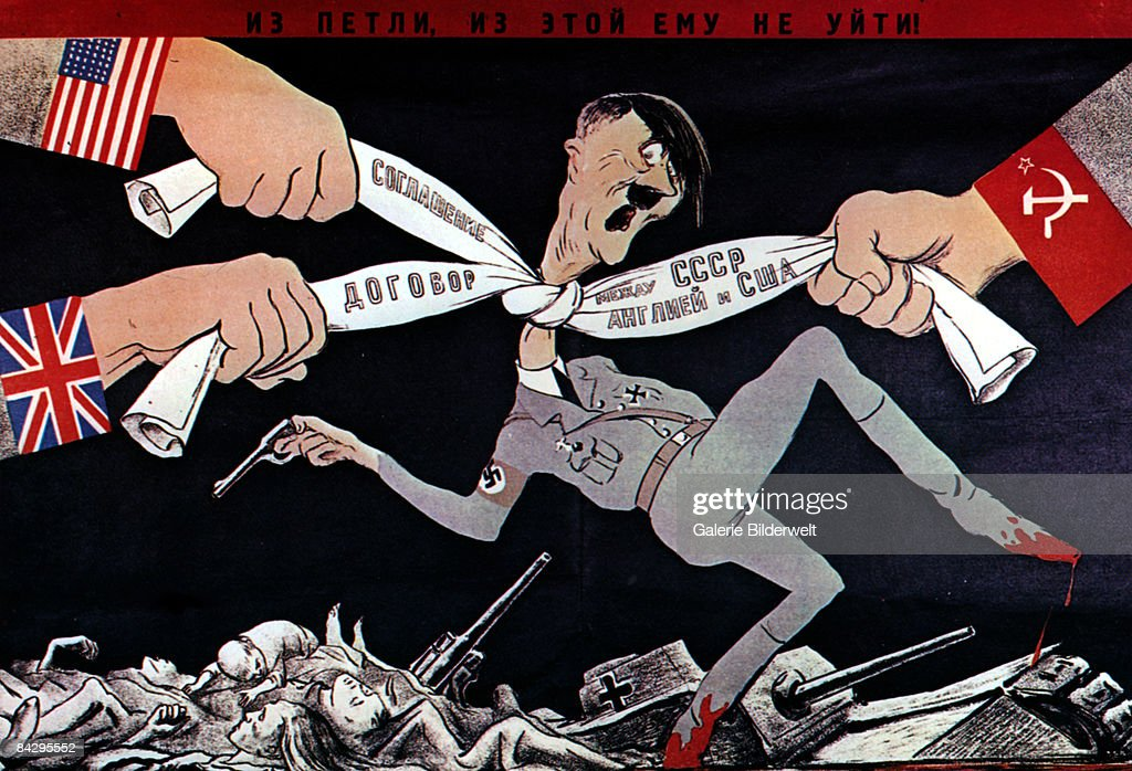 A Soviet poster from World War II showing how 'The Big Three will tie the enemy in knots' 1942 The arms of Soviet Russia Great Britain and the United...