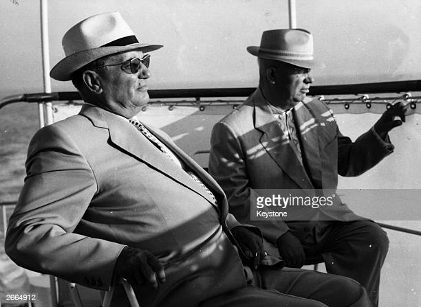 Soviet premier Nikita Khrushchev and Yugoslavian president Josip Tito on the ship Podgorka on a sightseeing tour along the Istrian coast