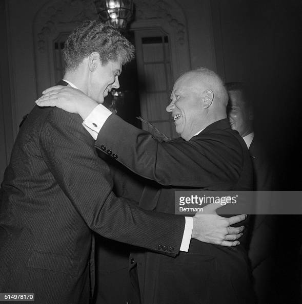 Soviet Premier Nikita Khrushchev embraces Texas pianist Van Cliburn at a reception at the Russian Embassy here today Cliburn is winner of Russia's...