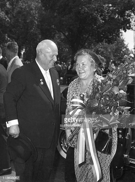 Soviet Premier Nikita Khrushchev smiles at his wife Nina Khrushcheva as they arrive at Blair House the US Government's official state guest house...