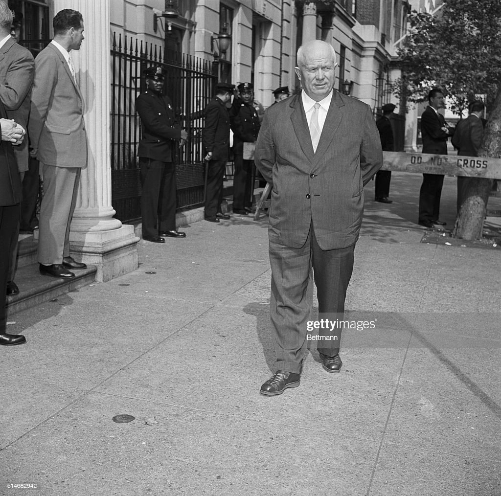 Soviet Premier <a gi-track='captionPersonalityLinkClicked' href=/galleries/search?phrase=Nikita+Khrushchev&family=editorial&specificpeople=92216 ng-click='$event.stopPropagation()'>Nikita Khrushchev</a> takes a confined walk on the sidewalk in front of Soviet United Nations Headquarters in New York City. October 5, 1960. | Location: 680 Park Avenue, New York, New York, USA.
