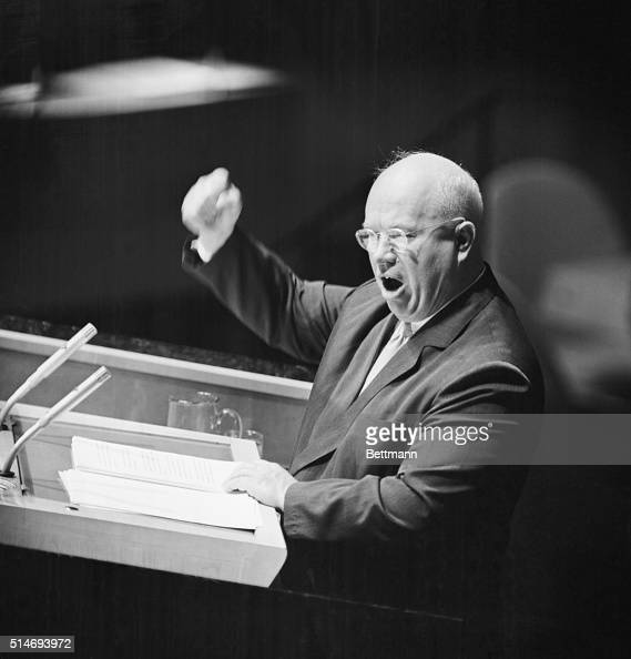 Soviet Premier Nikita Sergeyevich Khrushchev pounds his fist against the podium while addressing the United Nations General Assembly in Manhattan The...