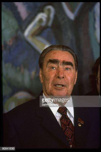 Soviet Pres Leonid Brezhnev speaking at arms meeting