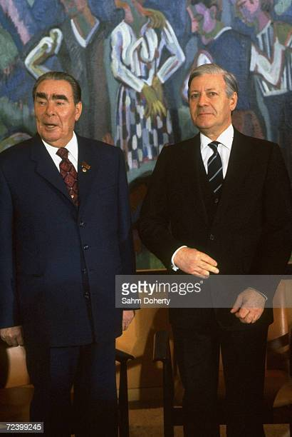Soviet President Leonid Brezhnev German Chancellor Helmut Schmidt at arms meeting