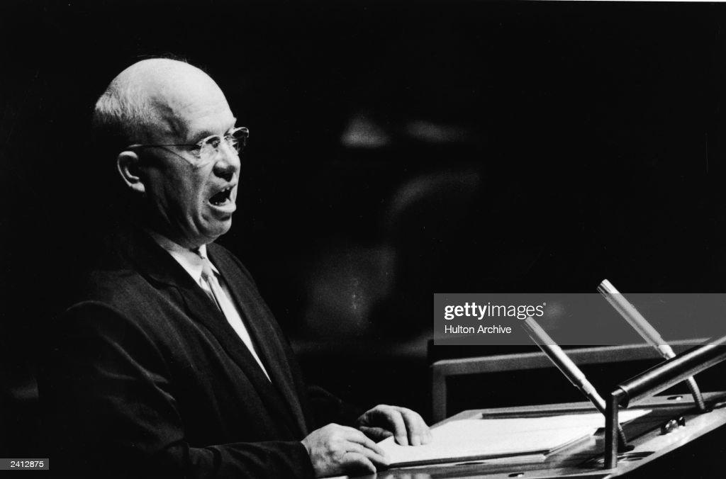 Soviet prime minister Nikita Khrushchev speaks at a podium addressing the United Nations General Assembly New York City September 23 1960