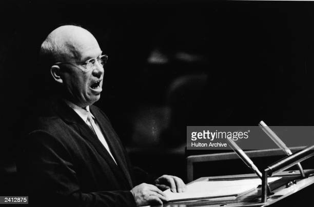 Soviet prime minister Nikita Khrushchev speaks at a podium addressing the United Nations General Assembly New York City September 23 1960