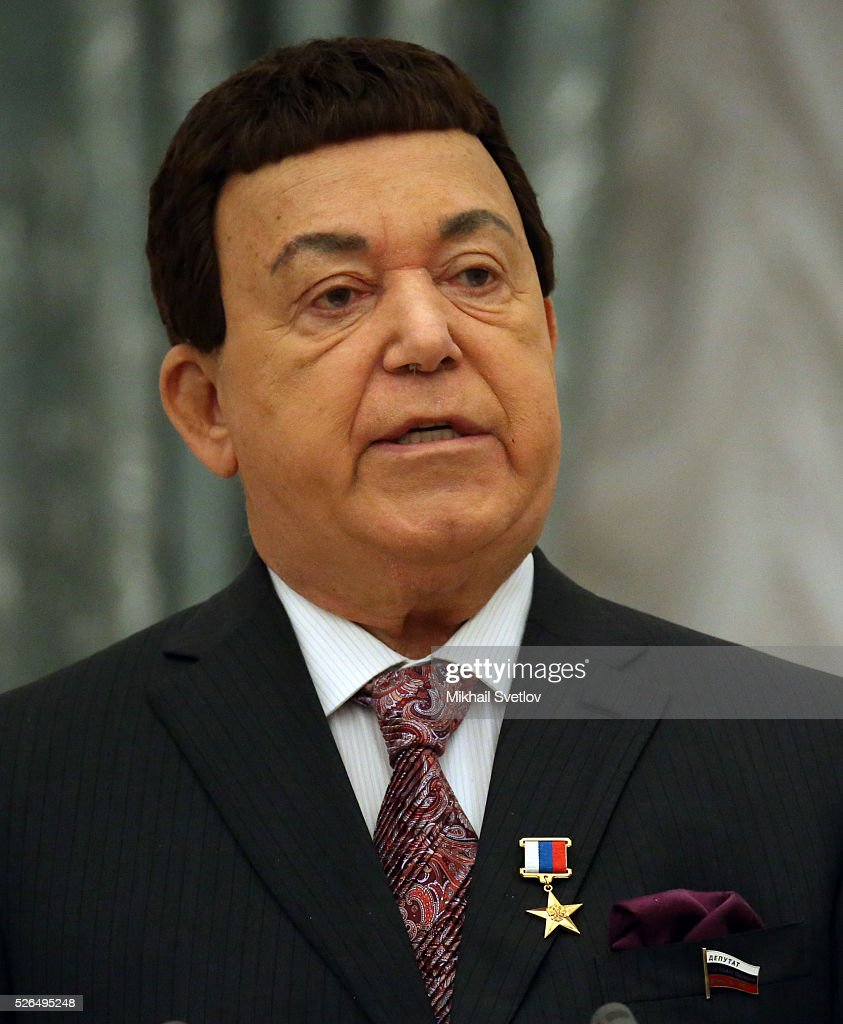 Soviet songs pop singer, State Duma Deputy Joseph Kobzon (R)speaks during the awarding ceremony at the Kremlin April, 30, 2016 in Moscow, Russia. Putin presented Hero of Labour medals to five winners. The awards were given to Russians who made a considerable contribution to the country's social and economic development, including development of culture, education, industry and agriculture.