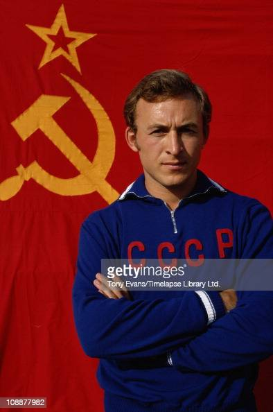 Soviet sprinter from the Ukraine Valeri Borzov posing in front of his flag whilst training in Milan before the 1972 Munich Olympics
