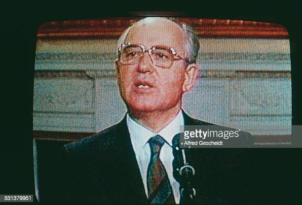 Soviet statesman Mikhail Gorbachev on television during a visit to the US December 1987 He is there to sign the IntermediateRange Nuclear Forces...