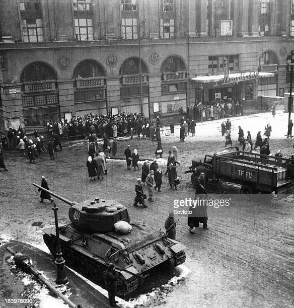 A Soviet T34 Tank On The Streets Of Budapest Hungary After The Uprisings Of 1956