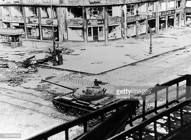 Soviet Tank Cheking A Crossroad Of Budapest During The Hungarian Revolution In October 1956