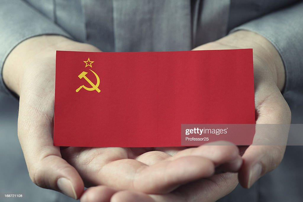 Soviet Union flag in palms