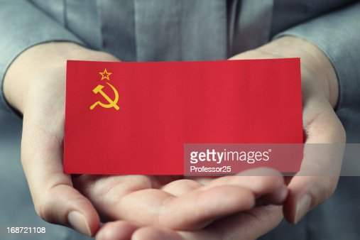 Soviet Union flag in palms