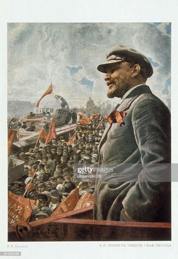 Soviet Union Lenin (originally Vladimir Ilyich Ulyanov) *22.04.1870-+ Politician, USSR Lenin at a speech on May Day - undated