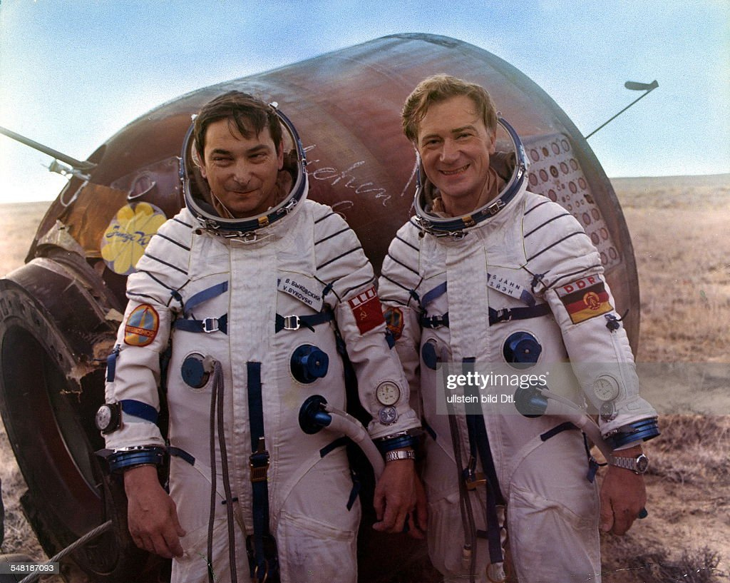 Soviet Union Spaceflight Program Intercosmos: return of the cosmonauts Valery Bykovsky (left) and Sigmund Jaehn (GDR) from their spaceflight with the capsule of Soyuz 29 -
