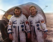 Soviet Union Spaceflight Program Intercosmos return of the cosmonauts Valery Bykovsky and Sigmund Jaehn from their spaceflight with the capsule of...