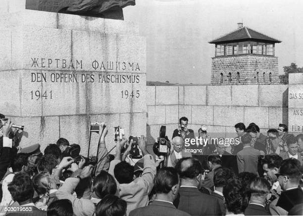 Sovietpremier Nikita Khrushchev is visiting the former concentration camp Mauthausen and is laying down three wreaths for the victims of fashism...
