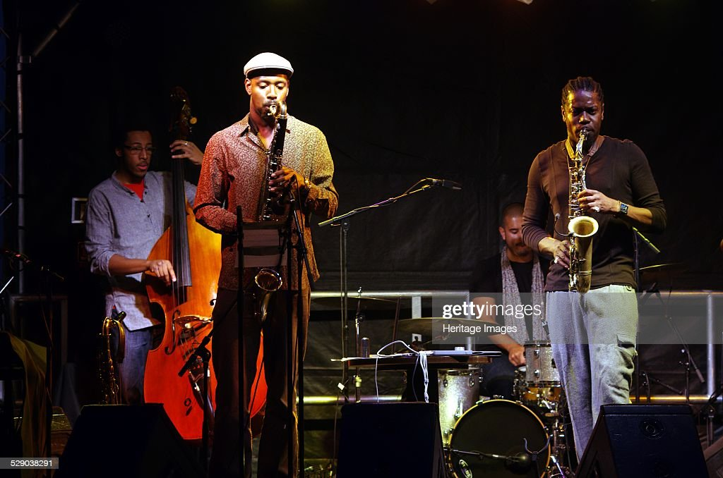 Soweto Kinch Shabaka Hutchings Karl RasheedAbel and Graham Godfrey Imperial Wharf Jazz Festival London 2011 Image by Brian O'Connor