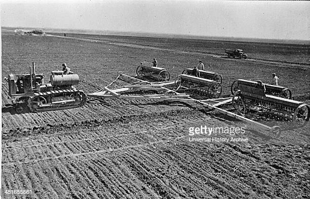 Sowing on a collective farm on the steppes of the Ukraine USSR between 1930 and 1940