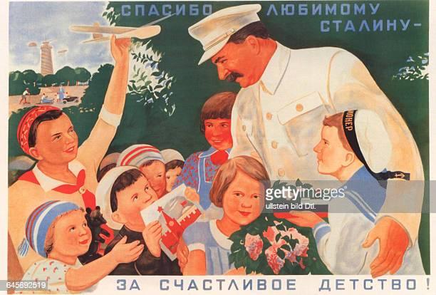 Sowjetunion Plakat Agitationsplakat Propagandaplakat Poster Text 'Wir danken dem geliebten Stalin für die glückliche Kindheit' Grafik Viktor...