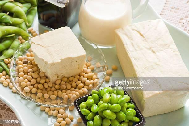 Haba de soja de comida y bebida, productos fotografía con varios elementos