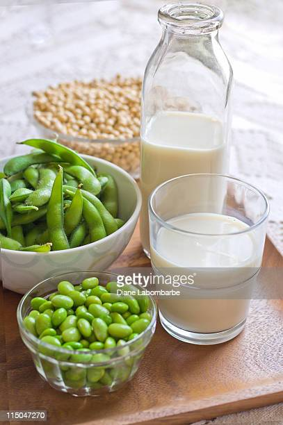 Soy Milk Concept Image with Milk, Fresh and Dry Soybeans