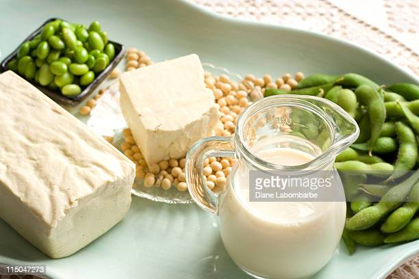 Soy Products with soybean pods, tofu, milk on serving dish