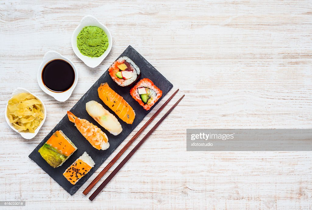 Soy Sauce, Wasabi and Ginger. Japanese Food on Copy Space : Stock-Foto