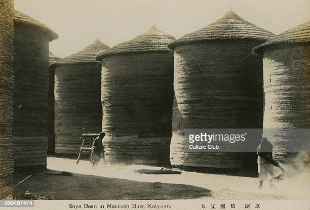 Soya Bean farming Beans stored in matrush bins Kaiyuan China From a postcard issued by The South Manchurian Railway Co