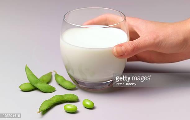 Soya beans and soya milk in glass