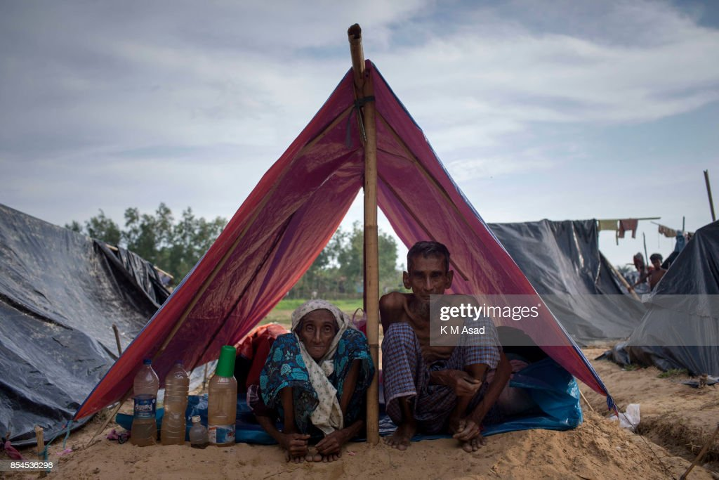Soyad Ali 75, in front of his makeshift tent at Thankhali refugee camp in Teknaf. According to UN more than 4,36,000 Rohingya refugees have fled Myanmar from violence over the last one month, most trying to cross the border and reach Bangladesh. International organizations have reported claims of human rights violations and summary executions allegedly carried out by the Myanmar army.