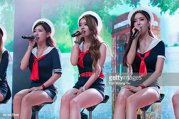 Soyeon Jiyeon and Hyomin of South Korean girl group Tara attend the press showcase for their 11th Mini Album 'So Good' on August 3 2015 in Seoul...