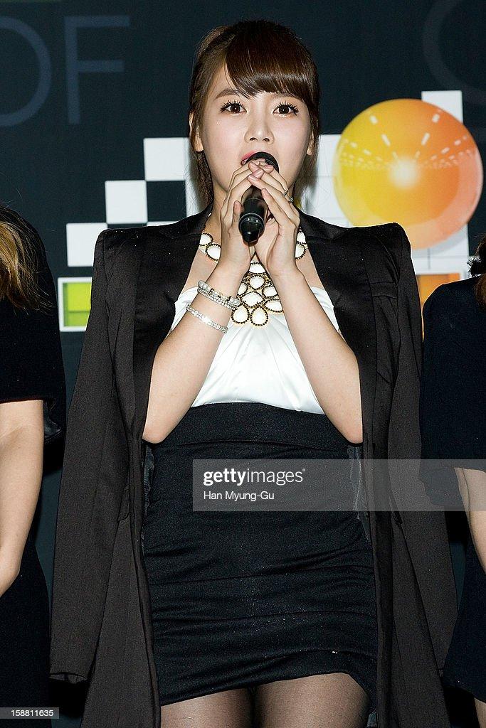 Soyeon (So-Yeon) of South Korean girl group T-ara arrives at the 2012 SBS Korea Pop Music Festival named 'The Color Of K-Pop' at Korea University on December 29, 2012 in Seoul, South Korea.