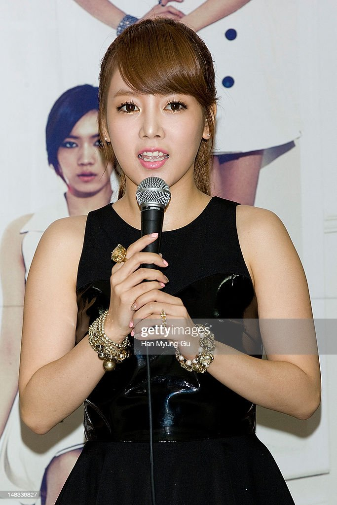 Soyeon (So-Yeon) of South Korean girl group T-ara attends a press conference to promote their 6th mini album named 'Day by Day' at Kyung Hee University on July 14, 2012 in Seoul, South Korea.