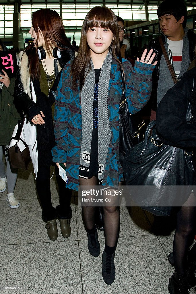 Soyeon (So-Yeon) of South Korean girl group T-ara is seen at Incheon International Airport on January 15, 2013 in Incheon, South Korea.