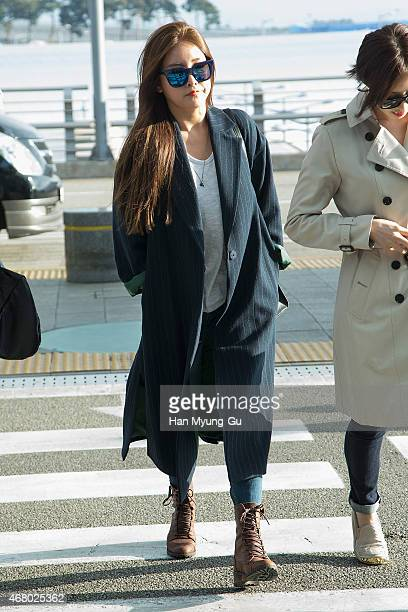 Soyeon of South Korean girl group Tara is seen on departure at Incheon International Airport on March 28 2015 in Incheon South Korea