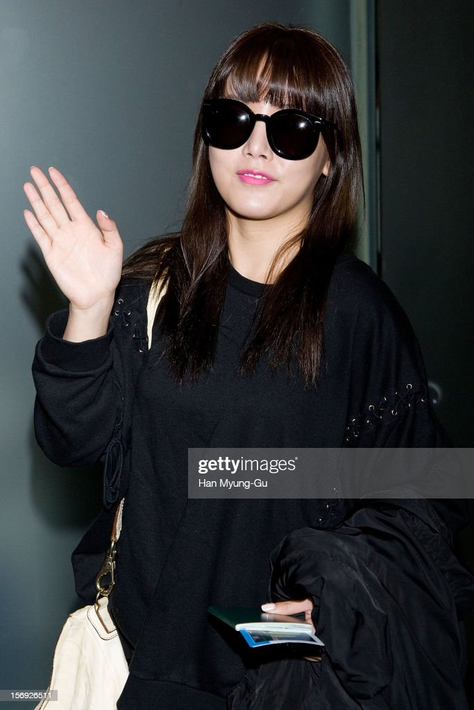 So-Yeon (Soyeon) of South Korean girl group T-ara is sighted at Incheon International Airport on November 25, 2012 in Incheon, South Korea.