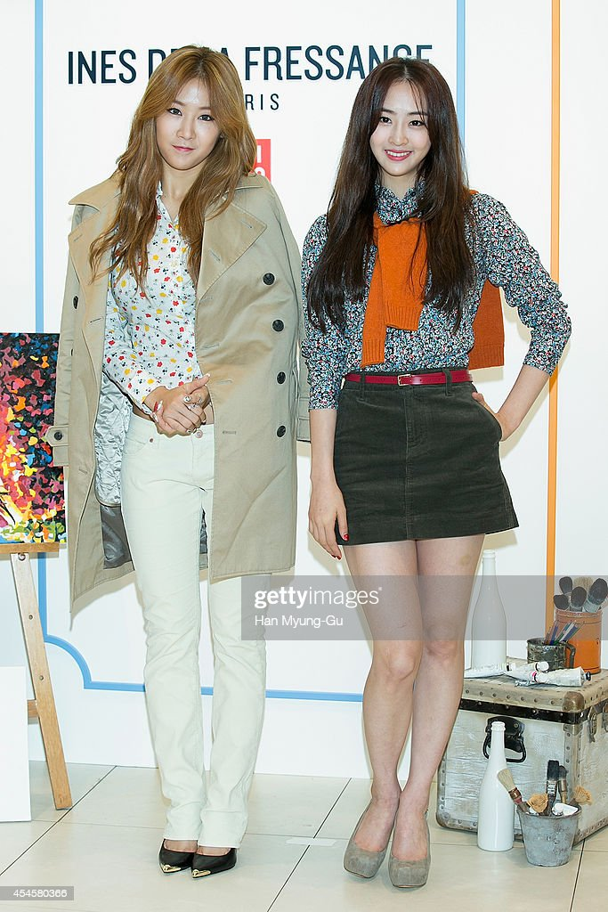 Soyou and Dasom of South Korean girl group SISTAR attend the event for 'UNIQLO' 2014 FW Collaboration With Ines De La Fressange on September 3 2014...