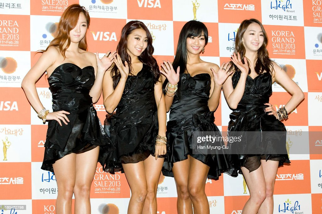 Soyou Bora Hyorin and Dasom of South Korean girl group SISTAR attend the 22nd High1 Seoul Music Awards at SK Handball Arena on January 31 2013 in...