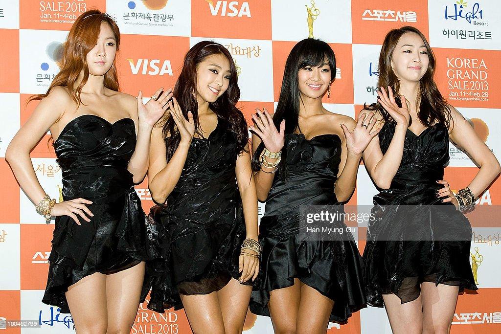 Soyou, Bora, Hyorin and Dasom of South Korean girl group SISTAR attend the 22nd High1 Seoul Music Awards at SK Handball Arena on January 31, 2013 in Seoul, South Korea.