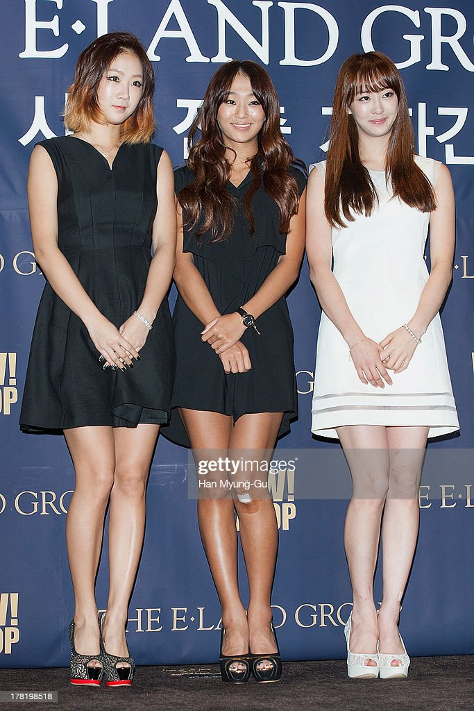 Soyou, Hyorin and Dasom of South Korean girl group SISTAR attend during the E-Land Group press conference at the Lexington Hotel on August 27, 2013 in Seoul, South Korea. E-Land group announced today that it will start its entertainment business by making 'Hallyu' related content with 40 Korean management firms. The E-Land group said its 'WAPOP' project will offer an entirely new genre of 'Hallyu' by combining multiple contents.