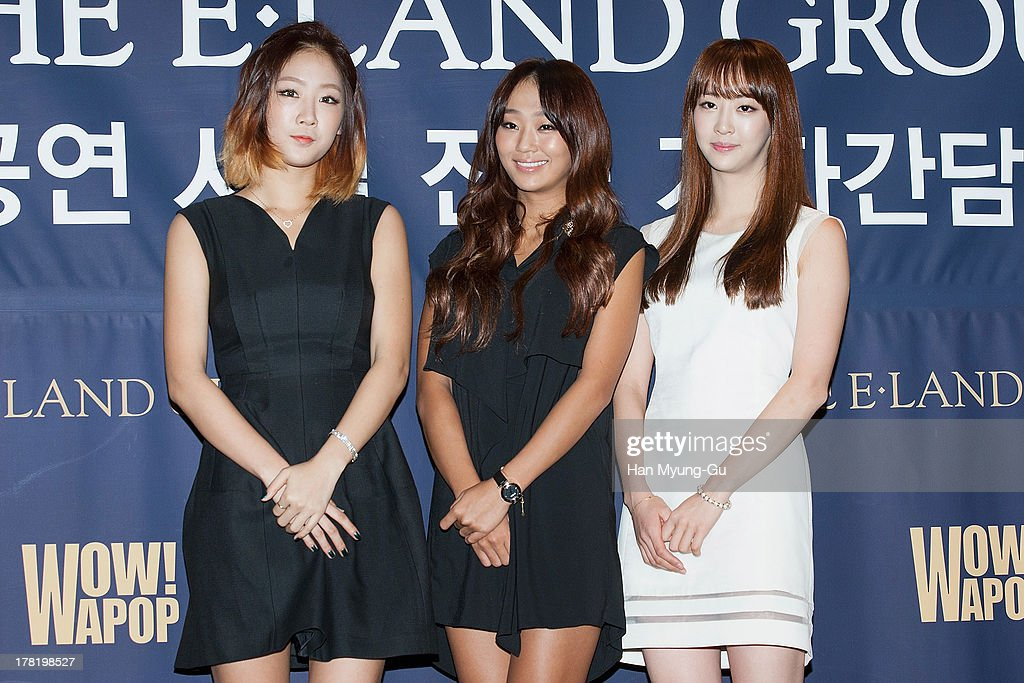 Soyou, <a gi-track='captionPersonalityLinkClicked' href=/galleries/search?phrase=Hyorin&family=editorial&specificpeople=9128941 ng-click='$event.stopPropagation()'>Hyorin</a> and Dasom of South Korean girl group SISTAR attend during the E-Land Group press conference at the Lexington Hotel on August 27, 2013 in Seoul, South Korea. E-Land group announced today that it will start its entertainment business by making 'Hallyu' related content with 40 Korean management firms. The E-Land group said its 'WAPOP' project will offer an entirely new genre of 'Hallyu' by combining multiple contents.