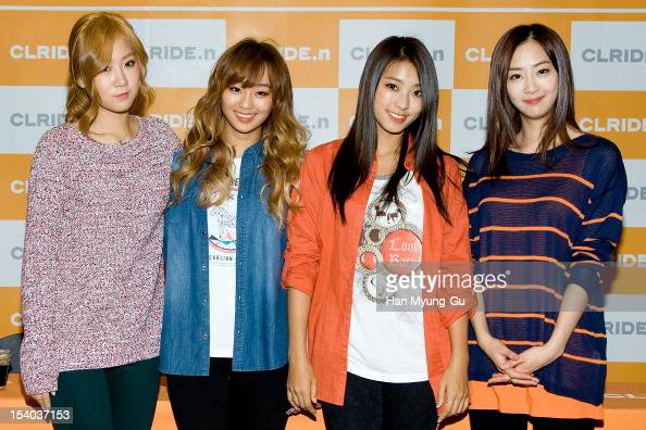 Soyou Hyorin Bora and Dasom of South Korean girl group SISTAR attend an autograph session for 'CLRIDEn' at Lotte Department Store on October 12 2012...