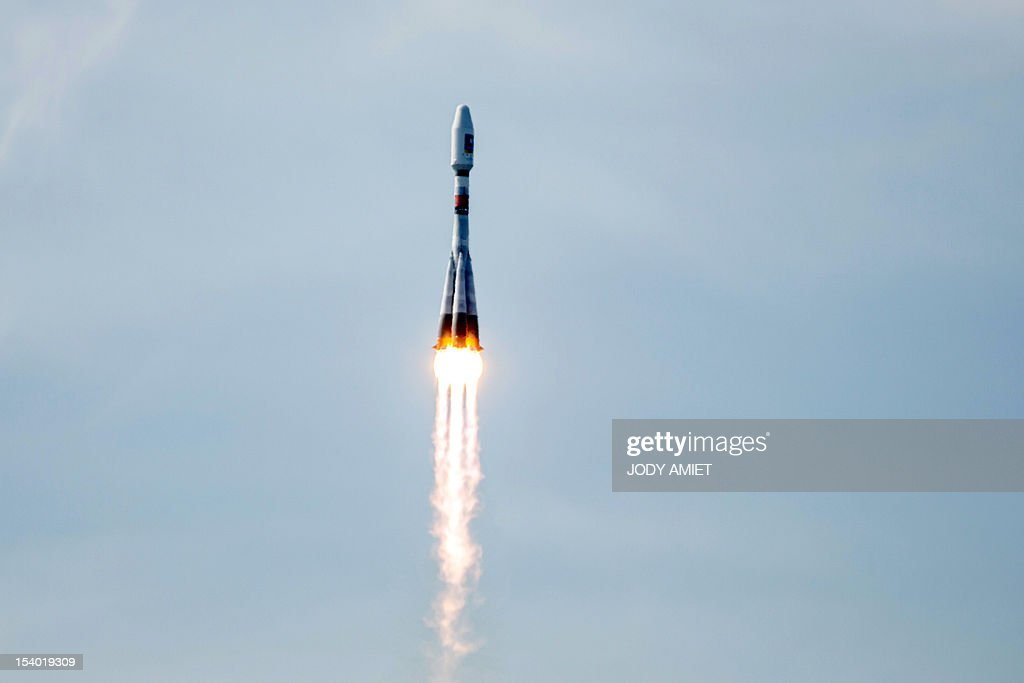 A Soyuz rocket carrying a pair of Galileo In-Orbit Validation satellites lifts off from Europe's Spaceport in Sinnamary, 12km from Kourou, French Guiana on 12 October 2012.