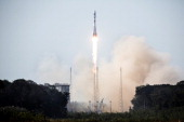 A Soyuz rocket carrying a pair of Galileo InOrbit Validation satellites lifts off from Europe's Spaceport in Sinnamary 12km from Kourou French Guiana...