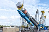 A Soyuz rocket is moved from its assembly building to its launch pad at the Guiana Space Centre in Kourou French Guiana on March 24 2015 The...