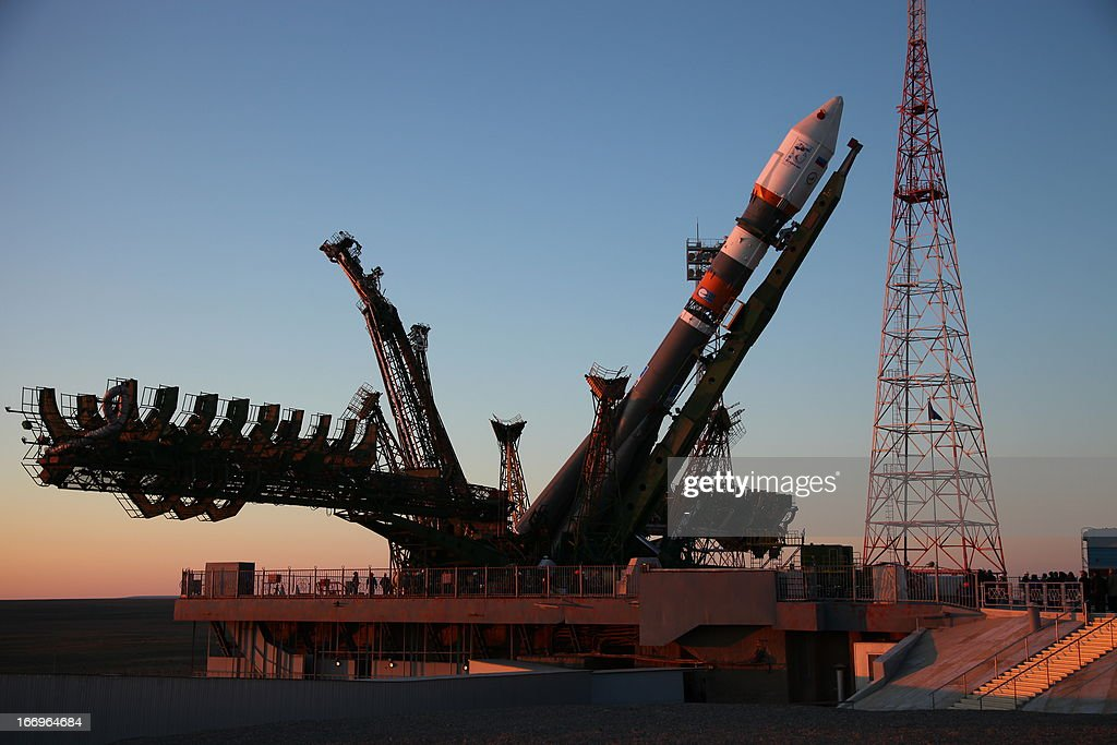A Soyuz-2.1b carrier rocket, carrying a Bion-M satellite is mounted on a launch pad in the Russian leased Kazakhstan's Baikonur cosmodrome on April 18, 2013. Bion-M, part of the Russia's space program, is to conduct fundamental and applied research in space biology, physiology and biotechnology while in orbit, RIA-Novosti news agency reported.