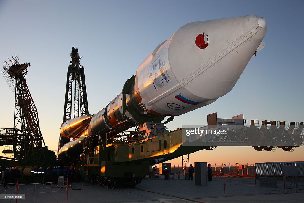 A Soyuz-2.1b carrier rocket, carrying a Bion-M satellite is transported to a launch pad in the Russian leased Kazakhstan's Baikonur cosmodrome on April 18, 2013. Bion-M, part of the Russia's space program, is to conduct fundamental and applied research in space biology, physiology and biotechnology while in orbit, RIA-Novosti news agency reported.