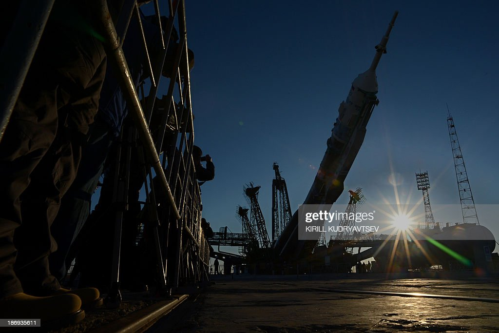 Soyuz-FG launch vehicle with Soyuz TMA-11M spacecraft of the International Space Station (ISS) Expedition 39 aboard is mounted at a launch pad in the Russian-leased Baikonur cosmodrome in Kazakhstan, on November 5, 2013. The Soyuz TMA-11M with an international crew, including Japanese astronaut Koichi Wakata, Russian cosmonaut Mikhail Tyurin and US astronaut Rick Mastracchio, and with an unlit torch of Sochi 2014 Winter Olympic aboard is scheduled to blast off to the ISS from Baikonur on November 7. The torch is scheduled to return back to Earth on November 11.