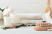 spa composition on white wooden background